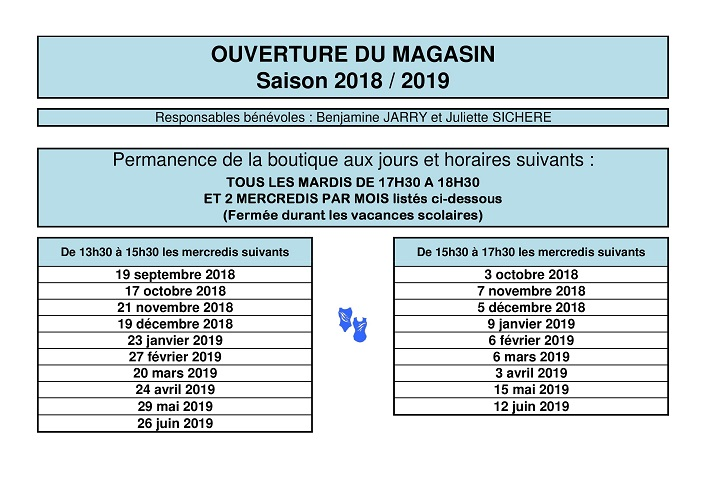 Horaires magasin 2018 2019